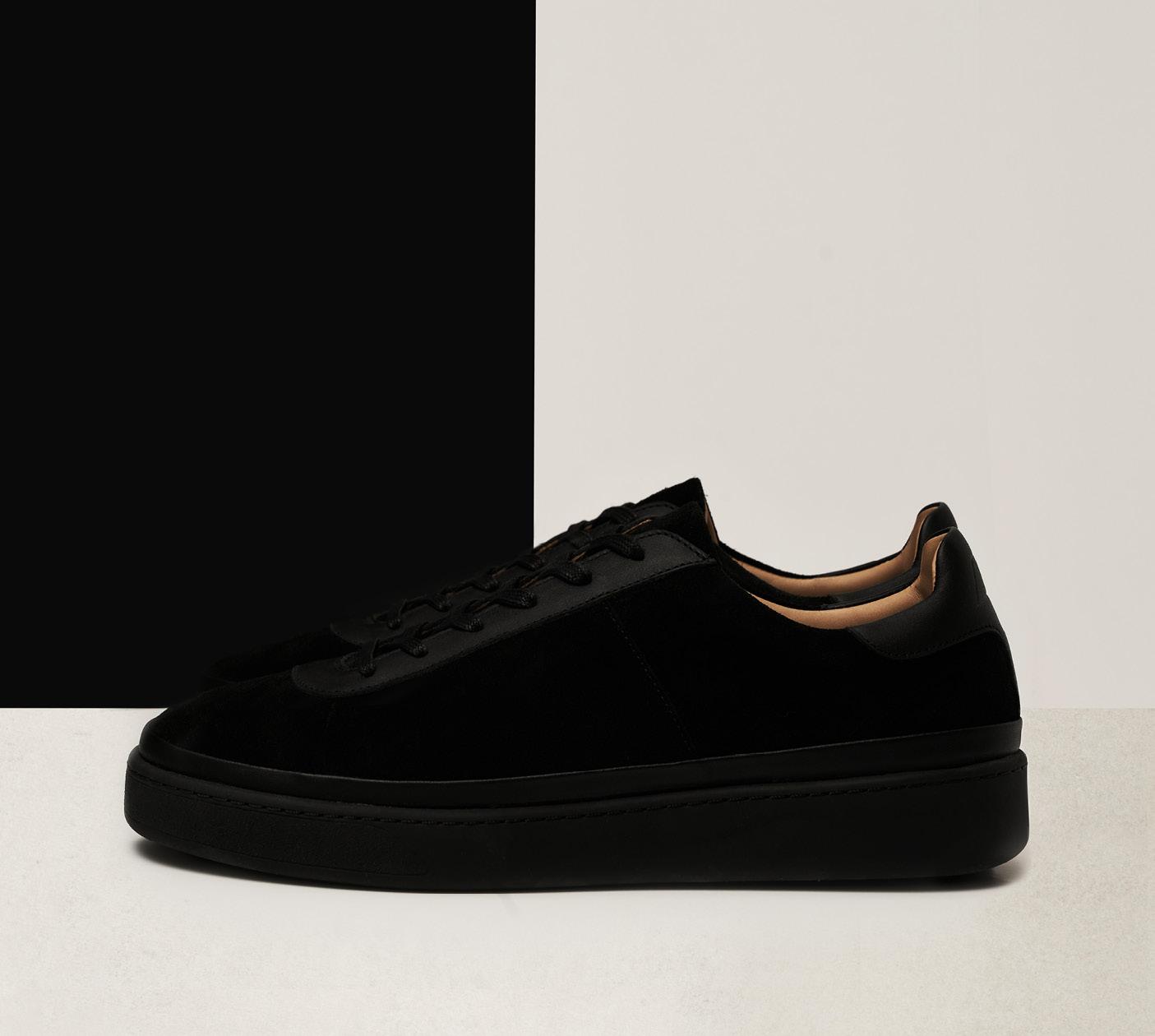 Suede Black Mens Sneakers