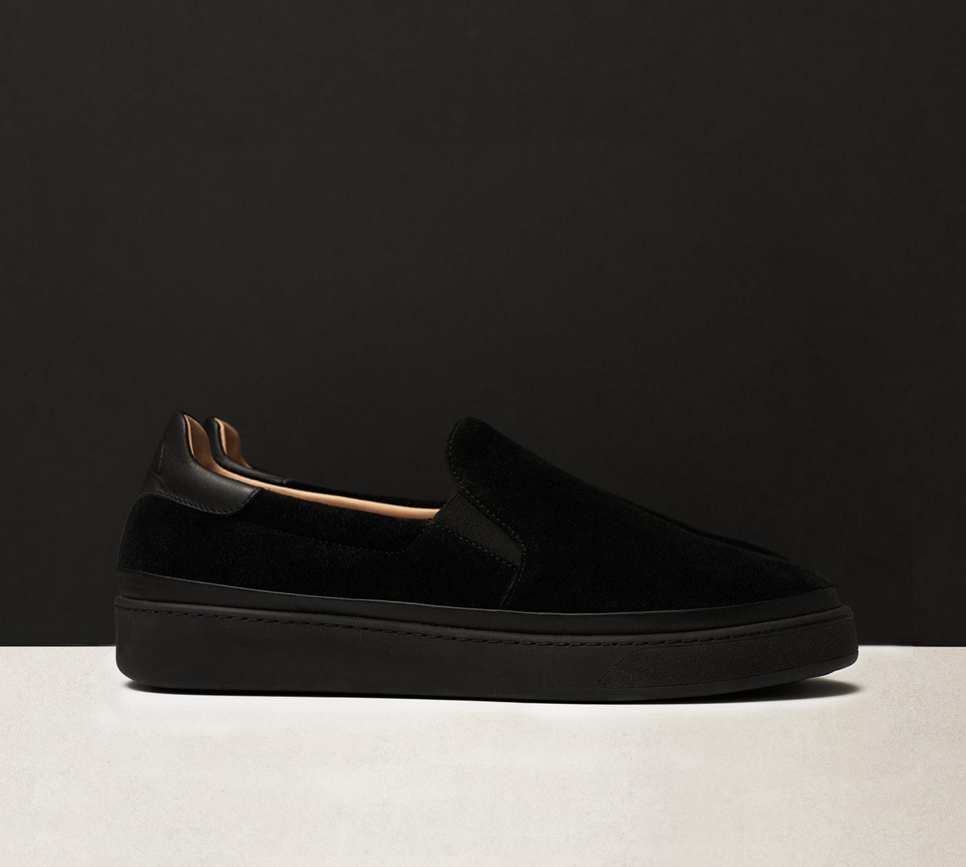 Suede Black Slip-on Sneakers