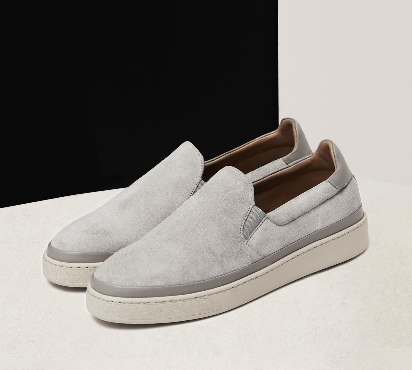 Suede Grey Slip-On Sneakers for Men