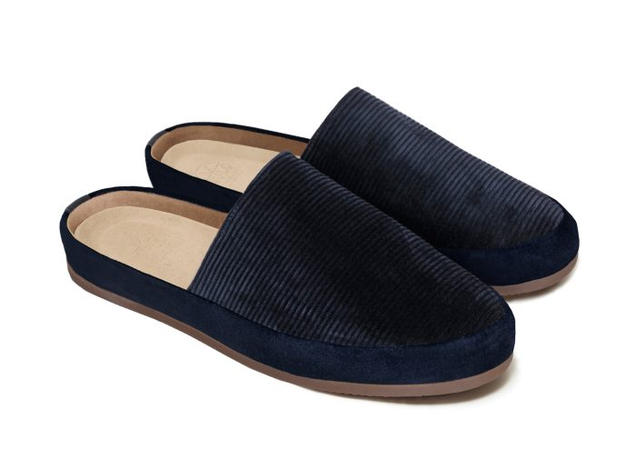 Navy Blue Slip-On Slippers for Men in British Corduroy
