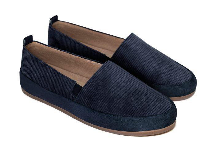 Navy Blue Slippers for Men in British Corduroy