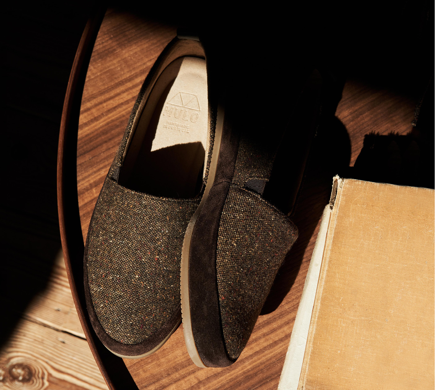 New Mens Slippers - Brown Donegal Tweed Slippers