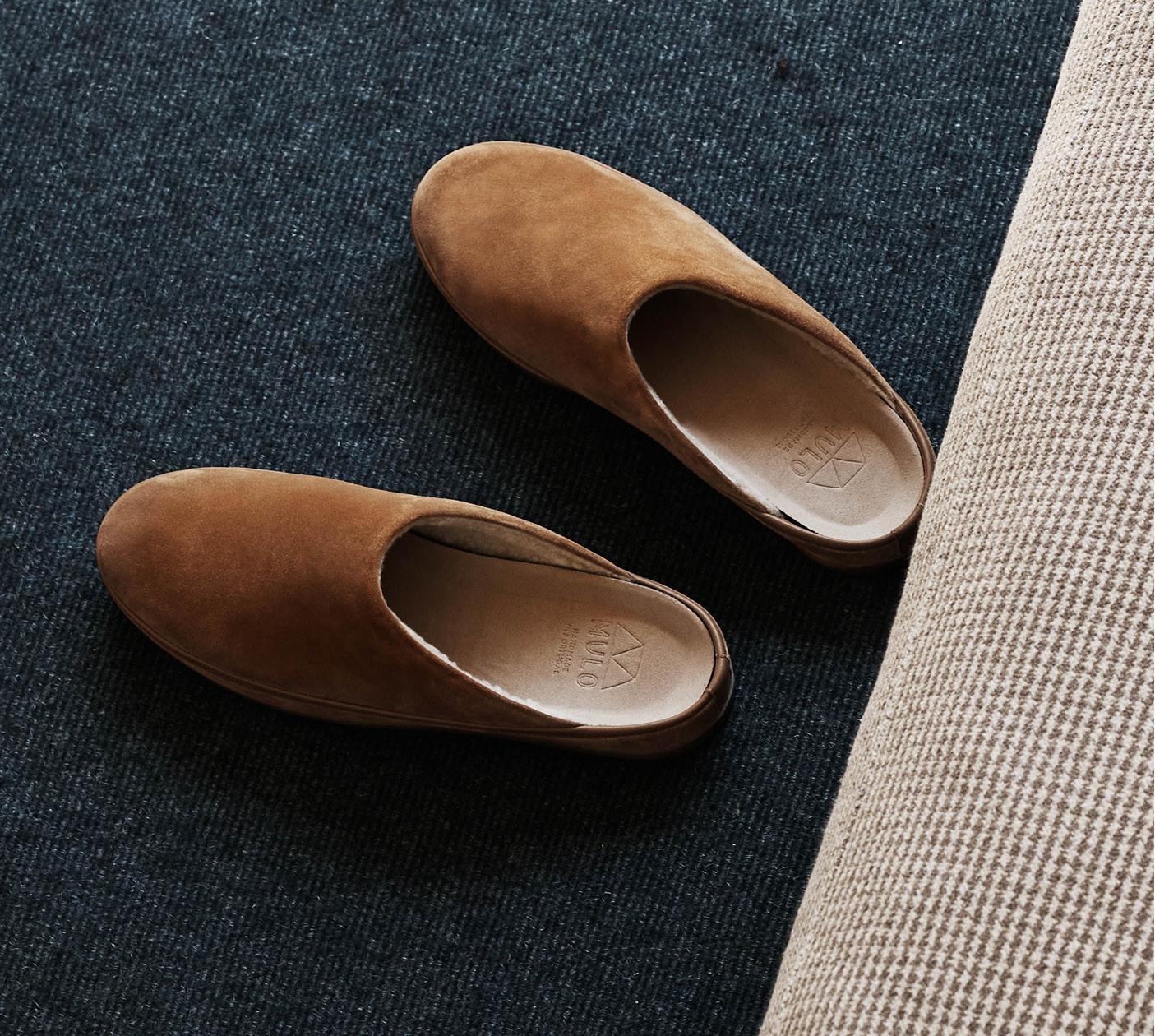 New Mens Slippers - Chestnut Suede Sheepskin Slippers