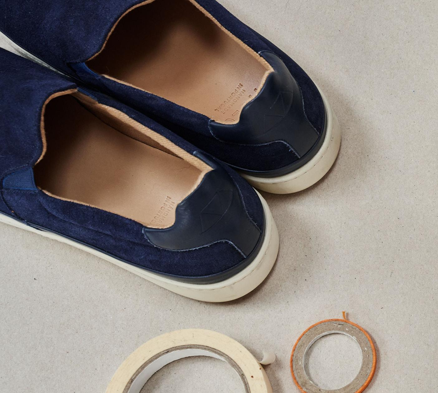 New Season - Navy Suede Slip-On Sneakers