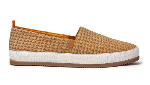 Mens Espadrilles in Orange Cotton Triangle Print