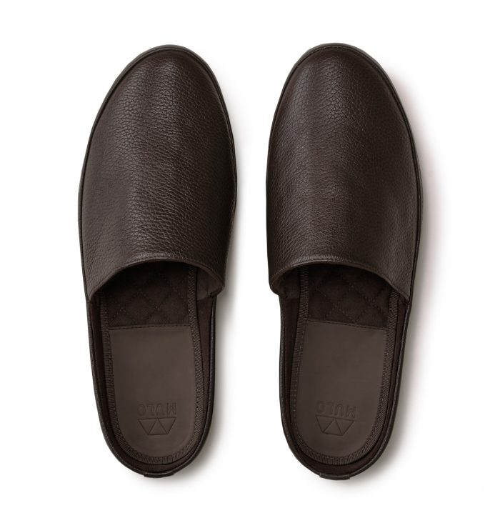 Leather Mens Slippers in Brown