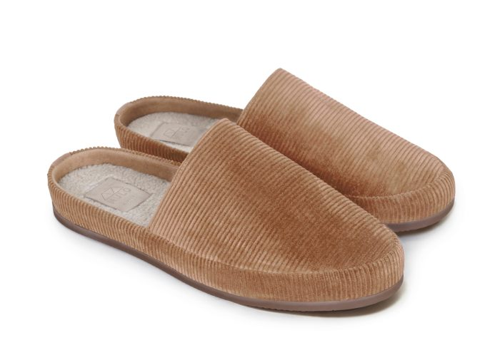 Corduroy Mens Slippers in Camel