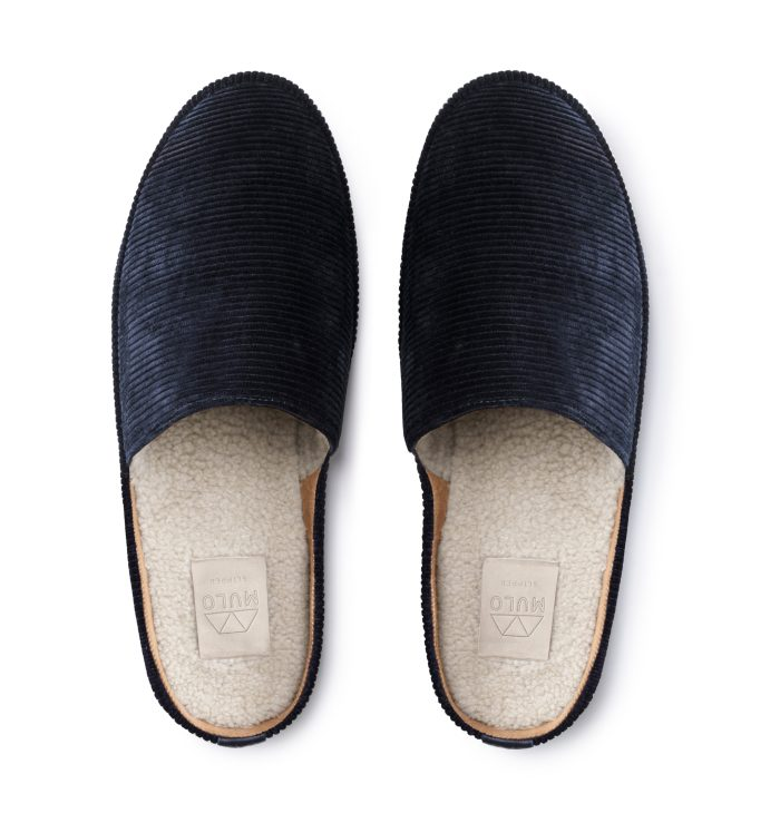 Mens Slippers in Blue Corduroy