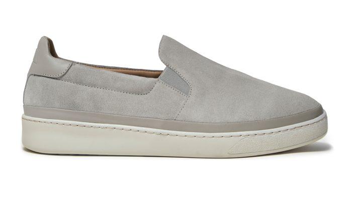 Mens Slip-On Sneakers in Grey Suede