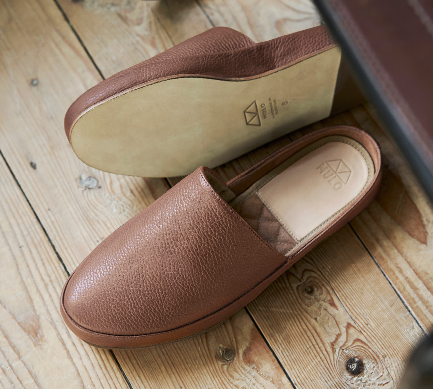 Mens Slippers in Tobacco Leather