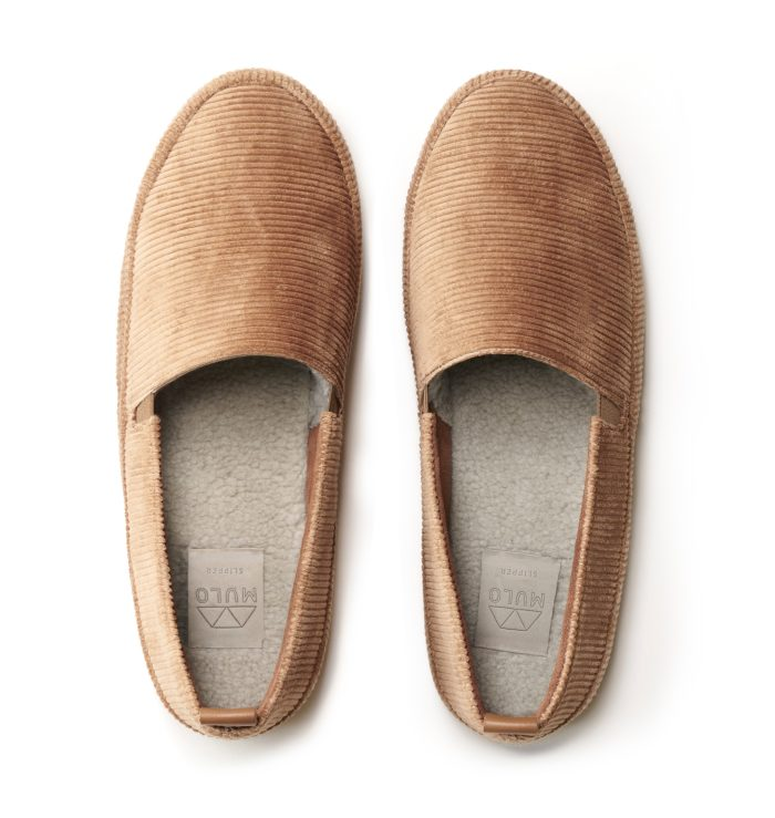 Mens Slippers in Camel Corduroy