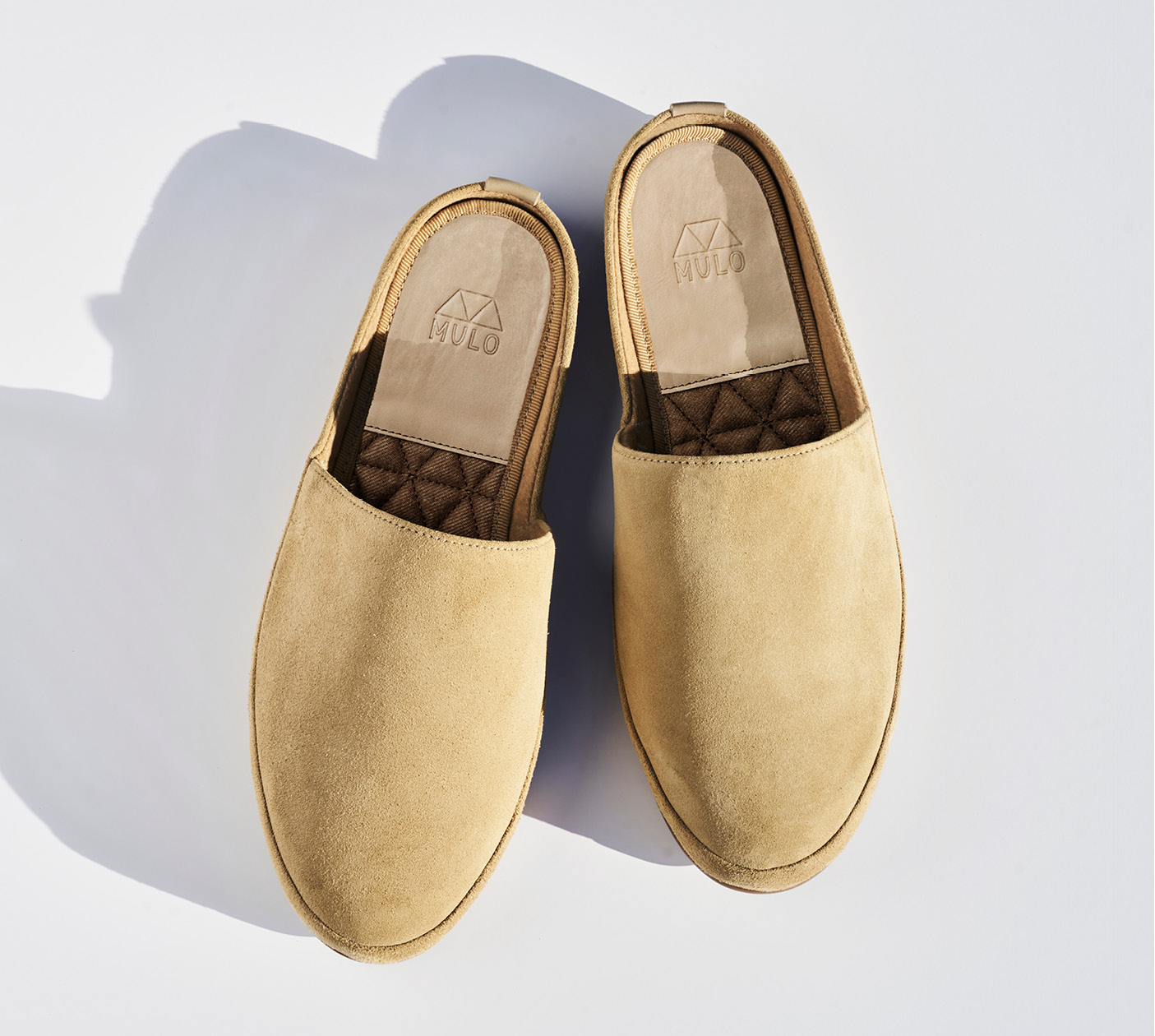 Backless Mens Slippers in Suede