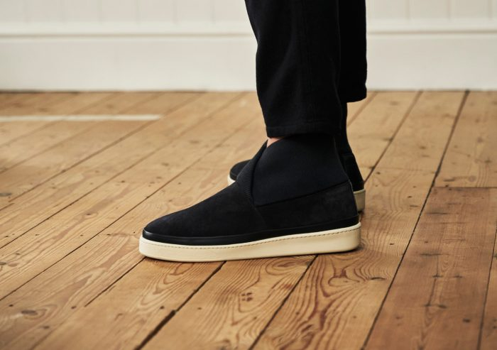 Mens Slipper Boots - Navy Suede with Rib Knit Collar