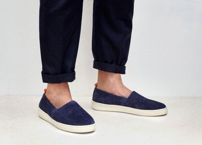 Mens Suede Blue Slip-On Sneakers | MULO shoes