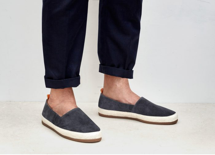 Suede Charcoal Grey Mens Espadrilles