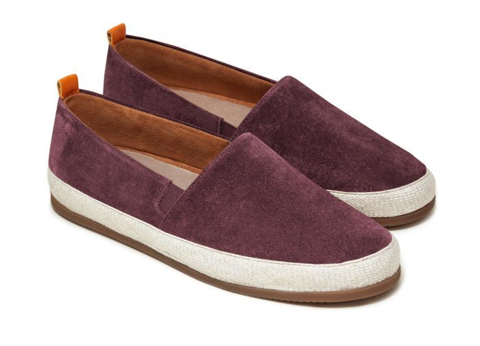 Suede Mens Espadrilles in Burgundy