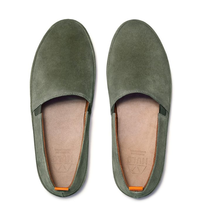 Mens Suede Loafers in Khaki Green