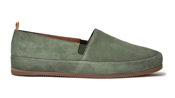 Khaki Green Mens Loafers in Suede