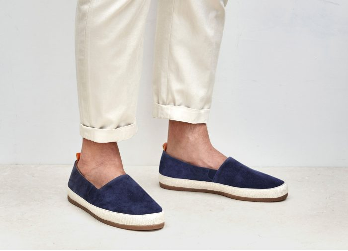 Mens Suede Navy Blue Espadrilles | MULO shoes