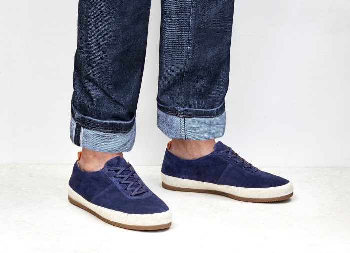 Suede Navy Mens Lace-Up Espadrilles