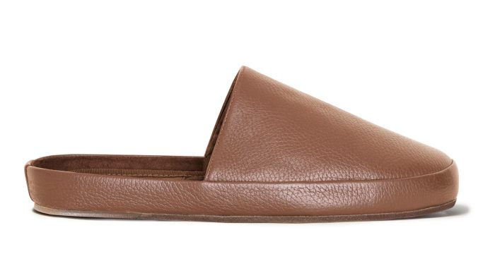 Luxury Leather Mens Slippers in Light Brown