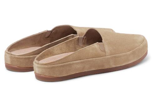 Mens Slippers in Tan Suede