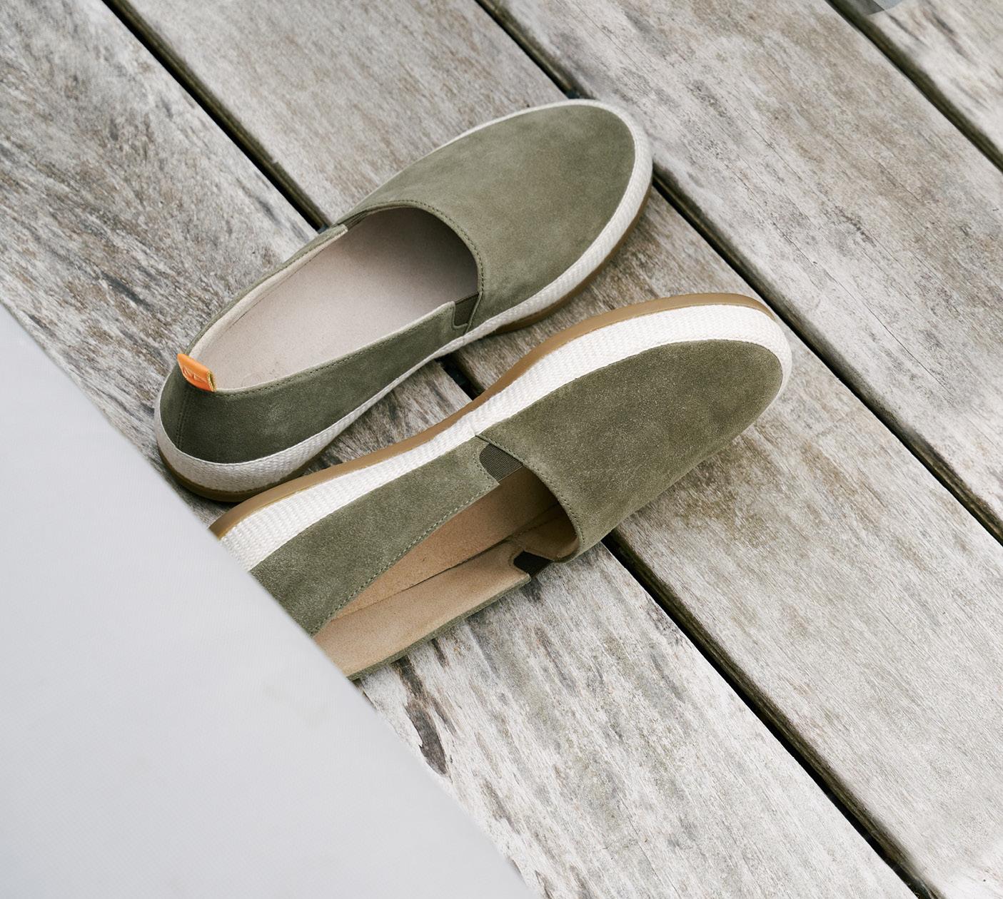 Summer Style - Mens Suede Khaki Green Espadrilles