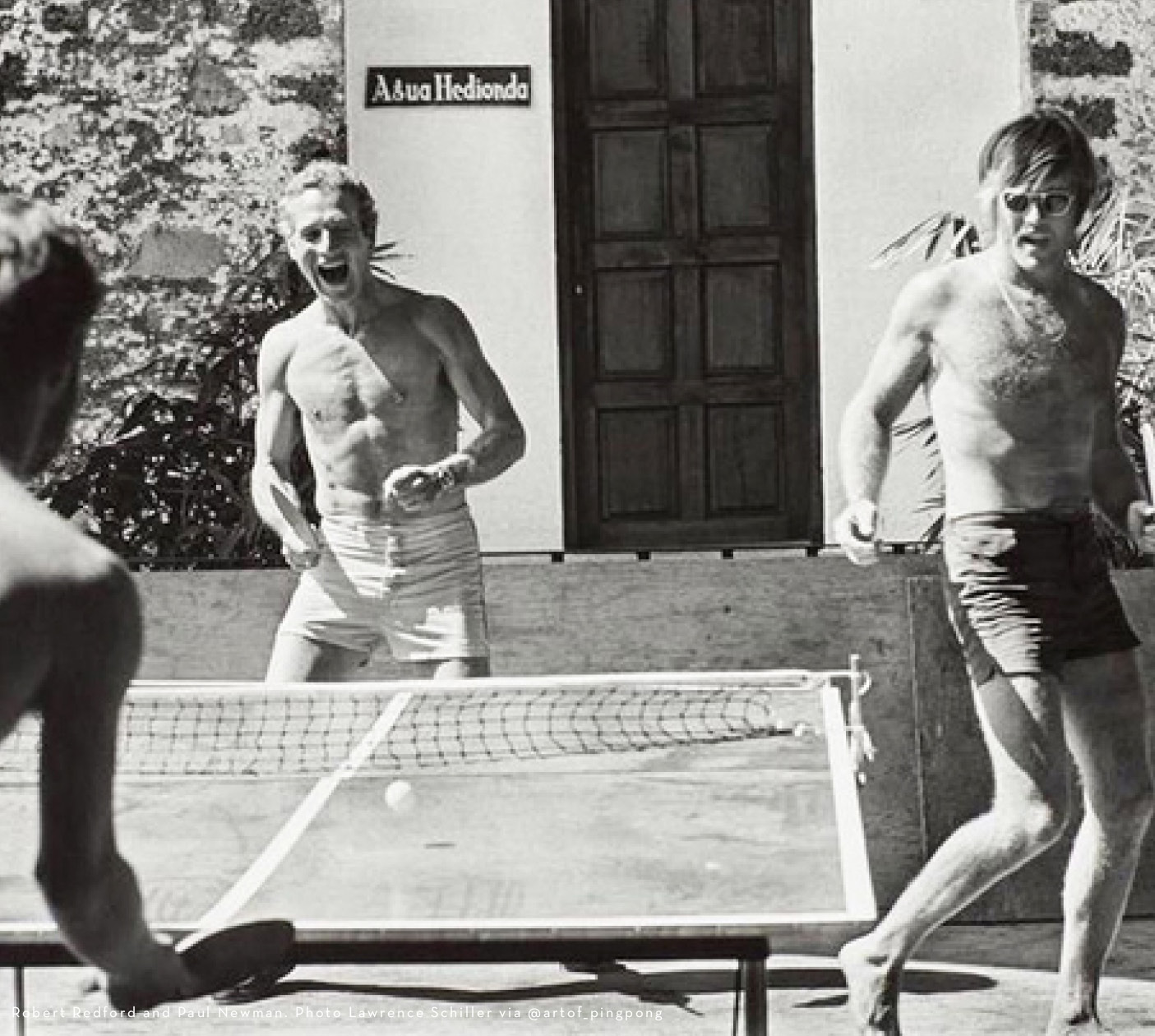 Robert Redford and Paul Newman playing Ping Pong