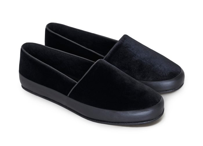 Velvet Black Slippers for Men