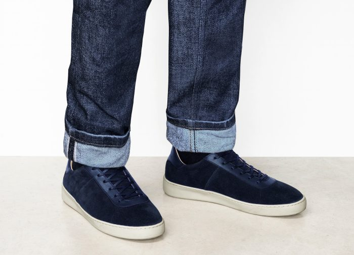 Dark Blue Sneakers for Men in Waxed Suede